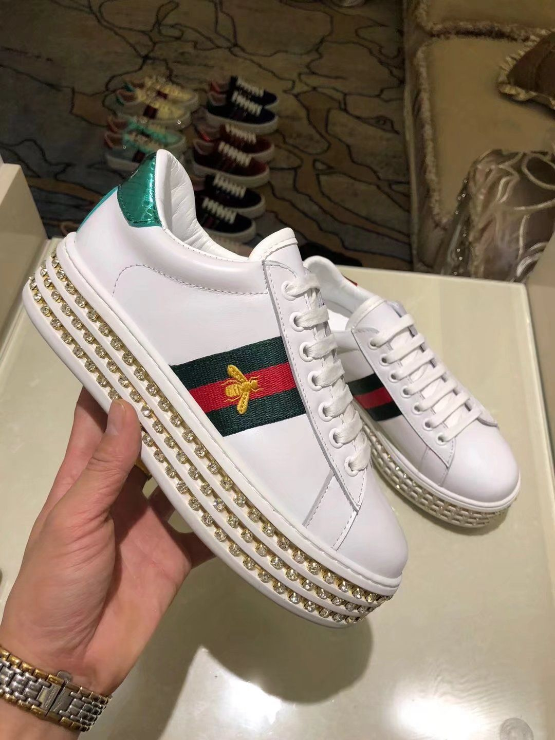 74eefd219c7 Replica GUCCI Ace sneaker with crystals White Leather Women Size 35-40 ID   ID