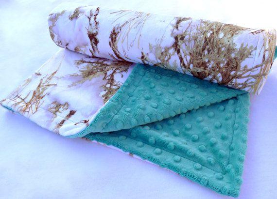 "baby blanket 30/""x30/"" realtree and aqua// teal minky"