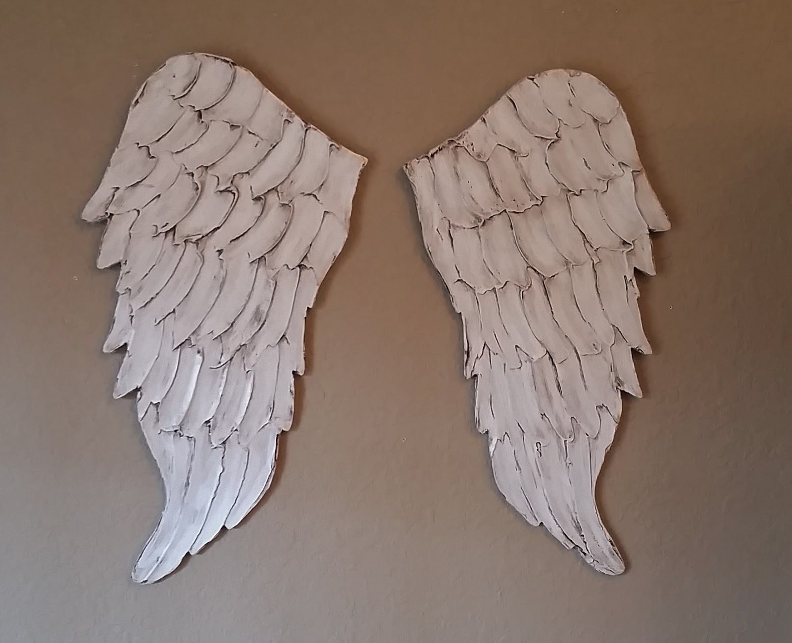 Wood Angel Wings Wall Art, Small Size Wings, Carved Wood Look .