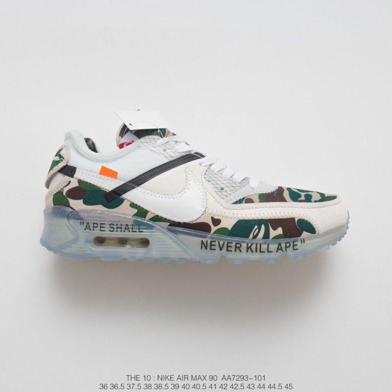Virgil Abloh Designer Independent Brand Off White X Nike Air Max 90 Air Jogging Shoes Off White Camouflage White Ice Blue