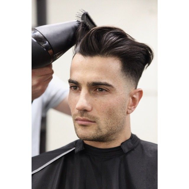 Mid blow dry on Joe's lowered undercut wedge shaped cut ... Dry Hair Men