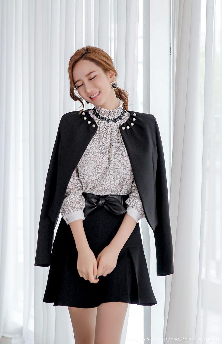 Victorian High Collar Blouse Black Anlis