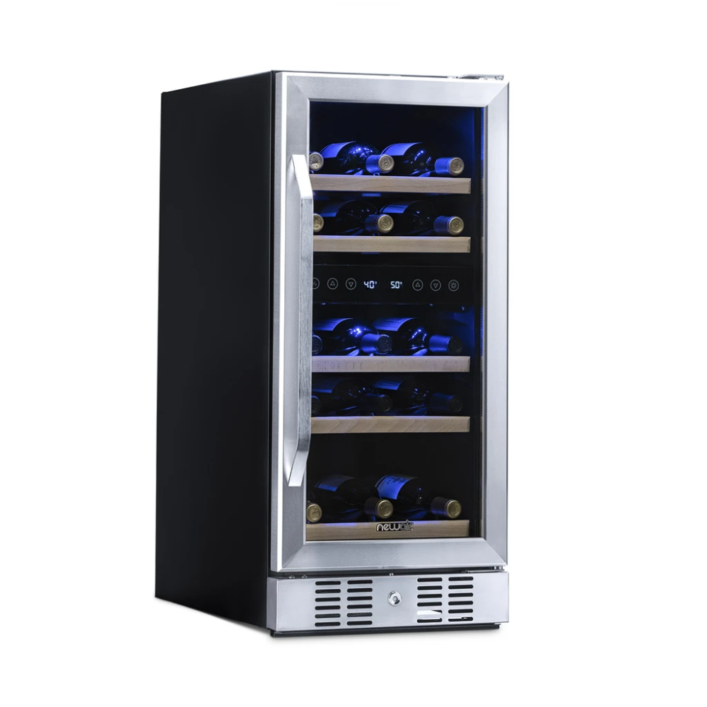 Newair 15 Built In 29 Bottle Dual Zone Compressor Wine Fridge In 2020 Built In Wine Cooler Wine Cooler Wine Fridge