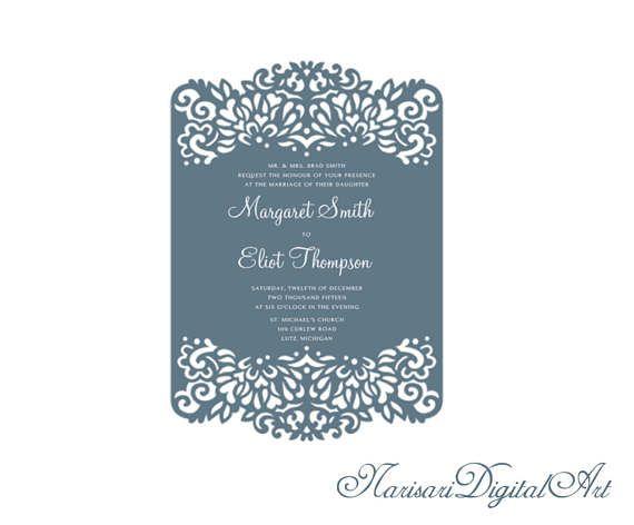 5x7 Laser cut Wedding Invitation frame pattern card template