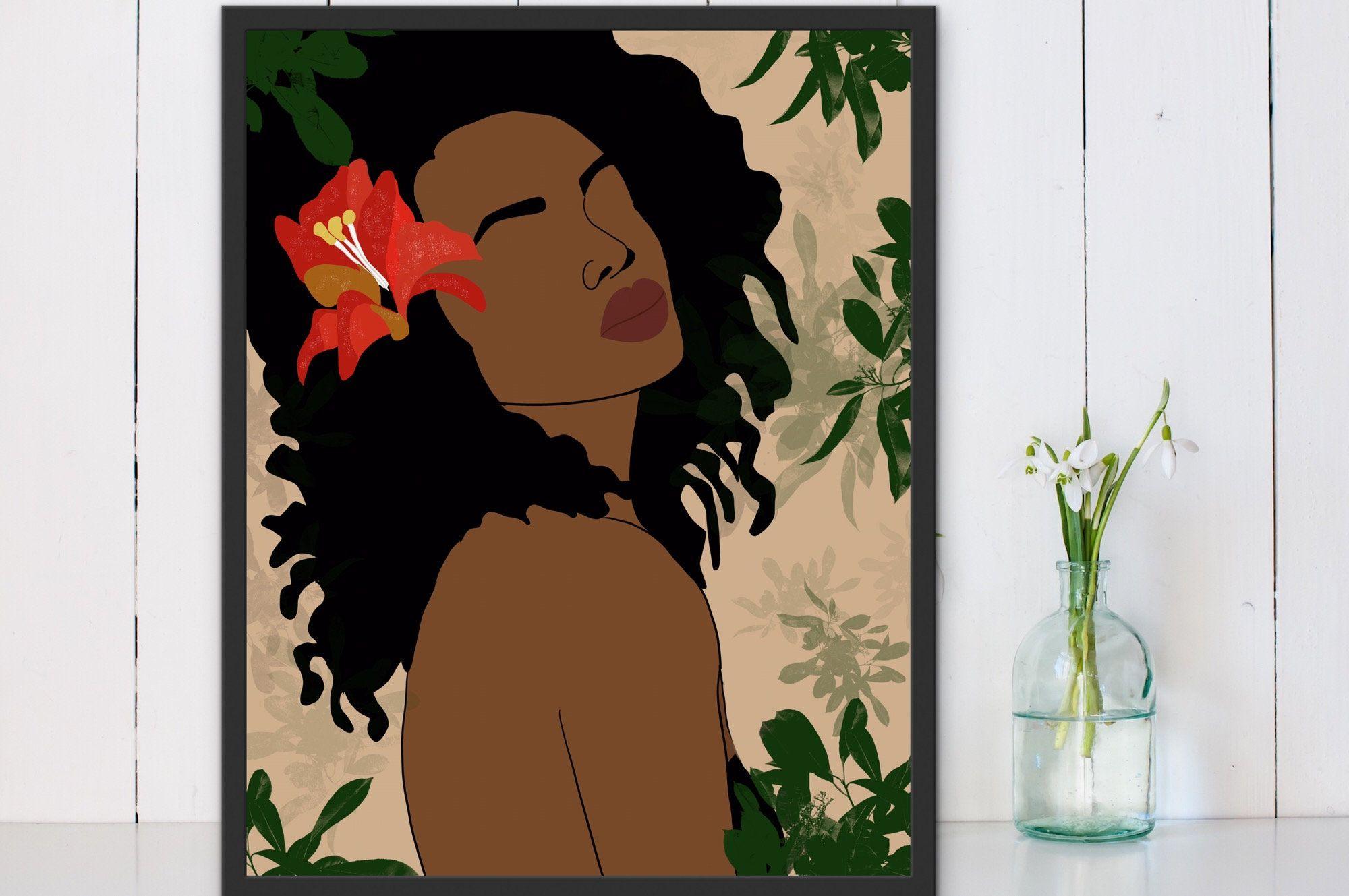Woman Art African Woman Art Black Woman Wall Art African Etsy African American Wall Art African Women Art Girls Wall Art