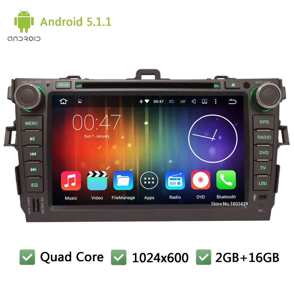 Quad Core Android 5 1 1 2din 8 Wifi Dab 1024 600 Car Dvd Player Radio Stereo Pc Audio Screen Gps For Toyota Corolla 2006 2011 Car Dvd Players Radio Car