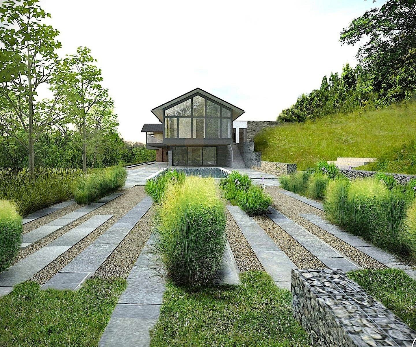 Modern Landscape: Modern Transition From Formality To Wilder In A Strong