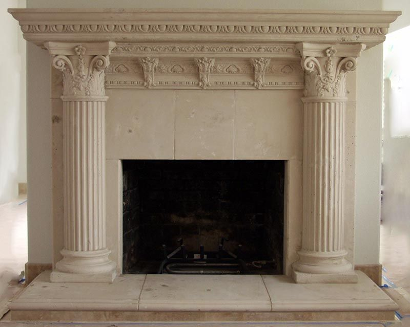 Stone fireplaces and Fireplace mantel