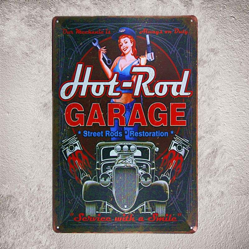 dingleiever DL-Full Service Garage The Best of Both hot rods and Classic pin up Girls Vintage Garage Wall Art