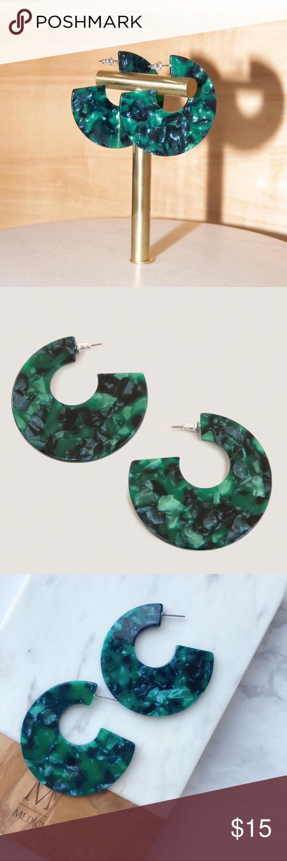414428b21f6 Emerald Tortoise Statement Earrings Brand new. Color  Green Each has its  unique pattern Jewelry Earrings