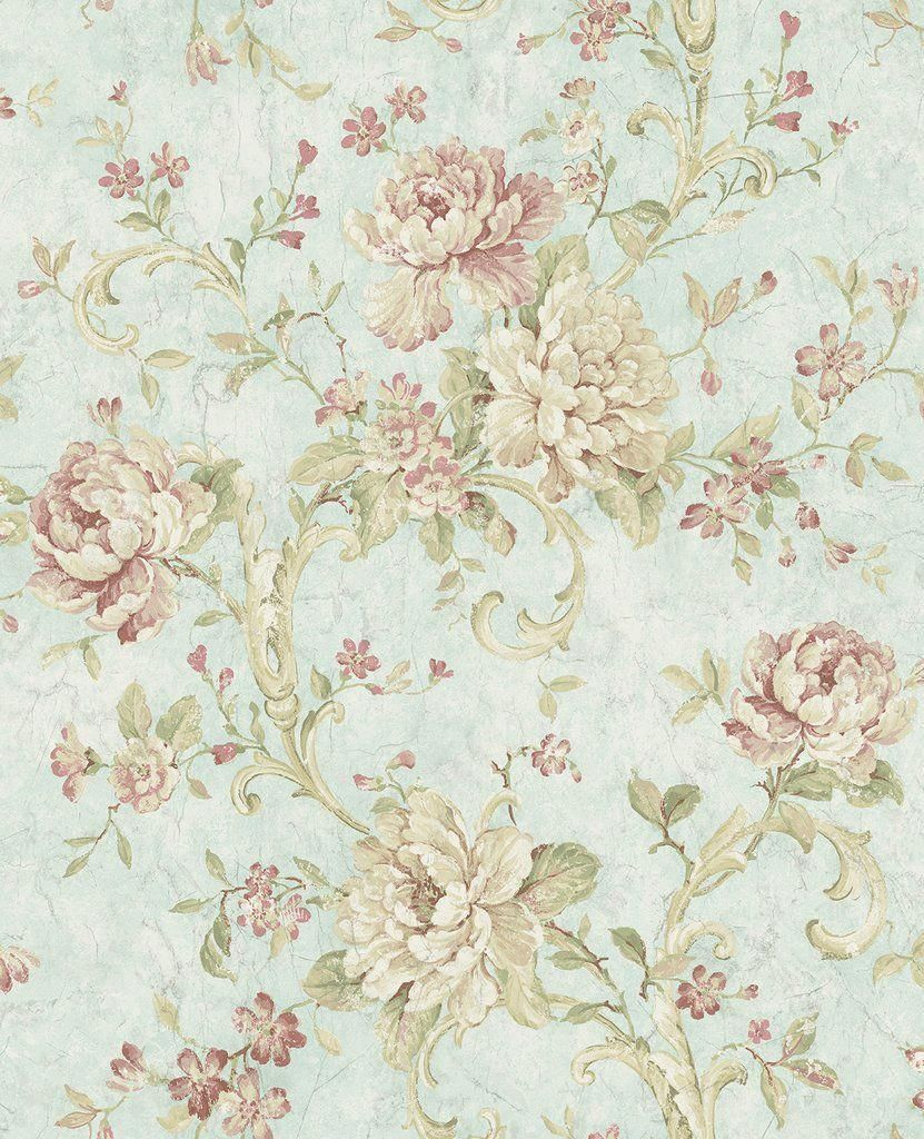 Antiqued Rose Wallpaper in Morning Rose from the Vintage Home 2 Collec