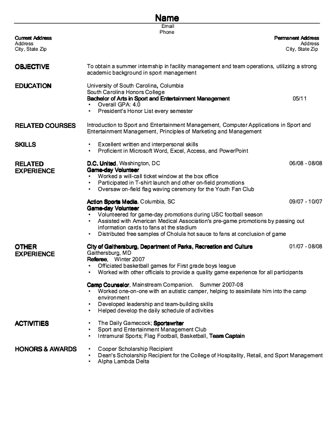 Example Of Game Day Volunteer Resume Examples Resume Cv Resume Resume Cv Resume Examples