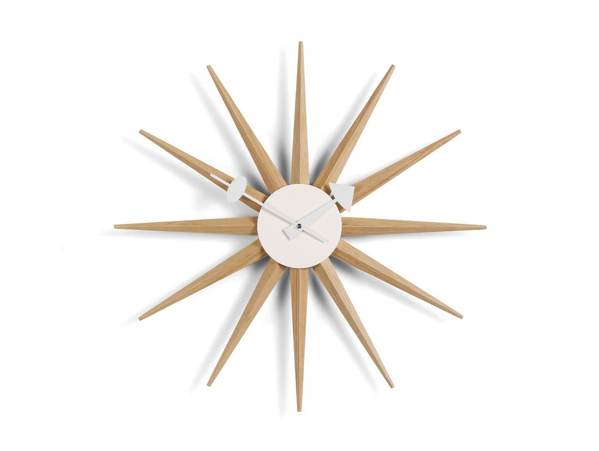 Natural Oak George Nelson Sunburst wall clock by Vitra