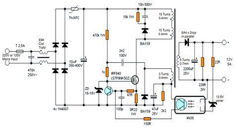 12v 5 Amp Transformerless Battery Charger Circuit Smps Based Battery Charger Circuit Power Supply Circuit Circuit Diagram