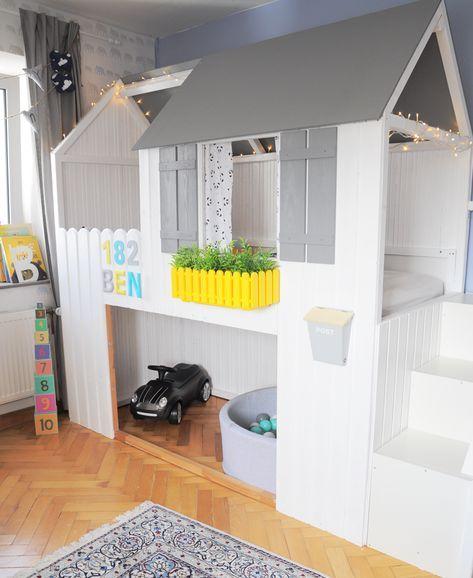 hausbett diy anleitung zum bau eines ikea kura hacks mit treppe milfcaf hausbett in 2018. Black Bedroom Furniture Sets. Home Design Ideas