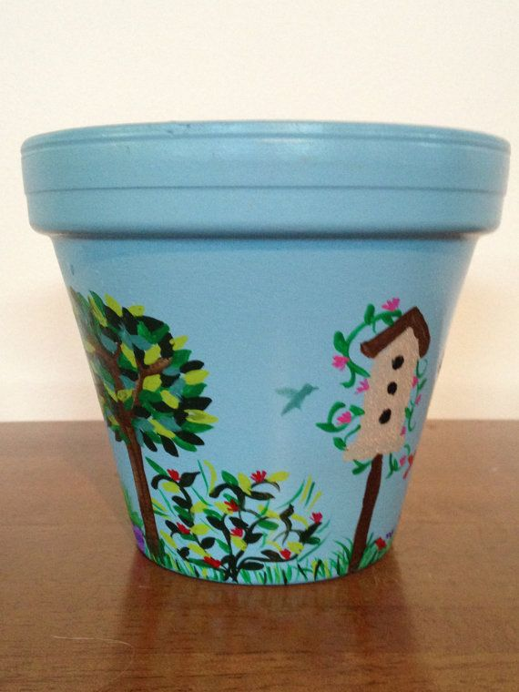 Hand Painted 6 inch Decorative Flower Pot by DayDreamingDecor