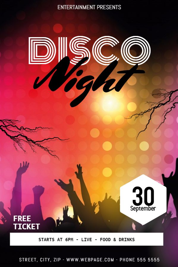 spooky disco night party flyer template design halloween party
