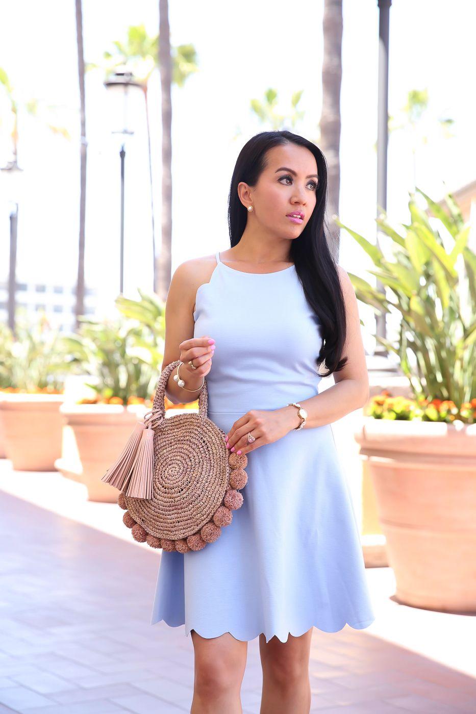 4af7984f8a6 blue scalloped flare dress pom pom straw bag nude sandals summer outfit