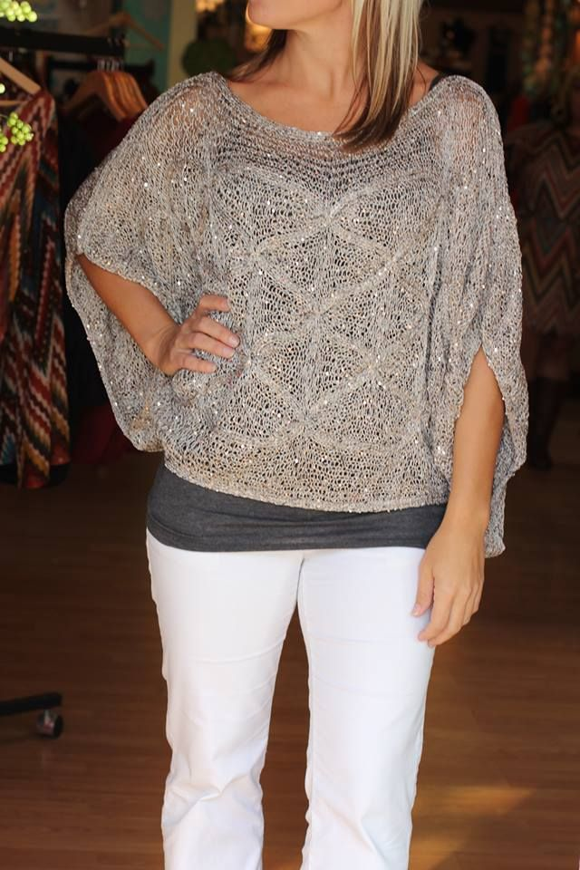 """Roxie"" Embellished sweater.  $39.99.  The pictures do not do this top justice!  So beautiful!  Sizes S/M and M/L.  Available at 105 West Boutique in Abbeville, SC.  (864) 366-WEST."