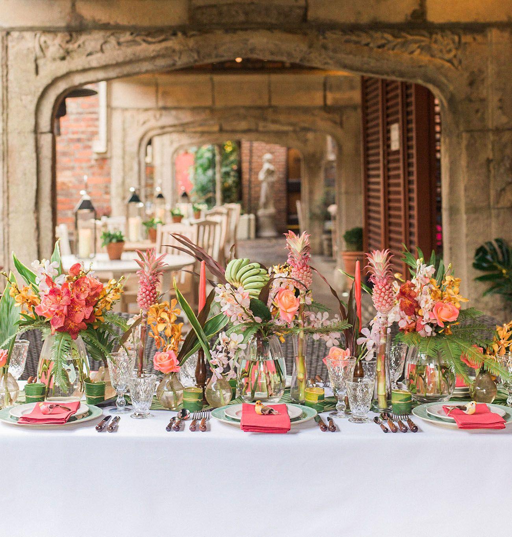 Hawaiian Wedding Reception Ideas: Tropical Vintage Havana Wedding Inspiration