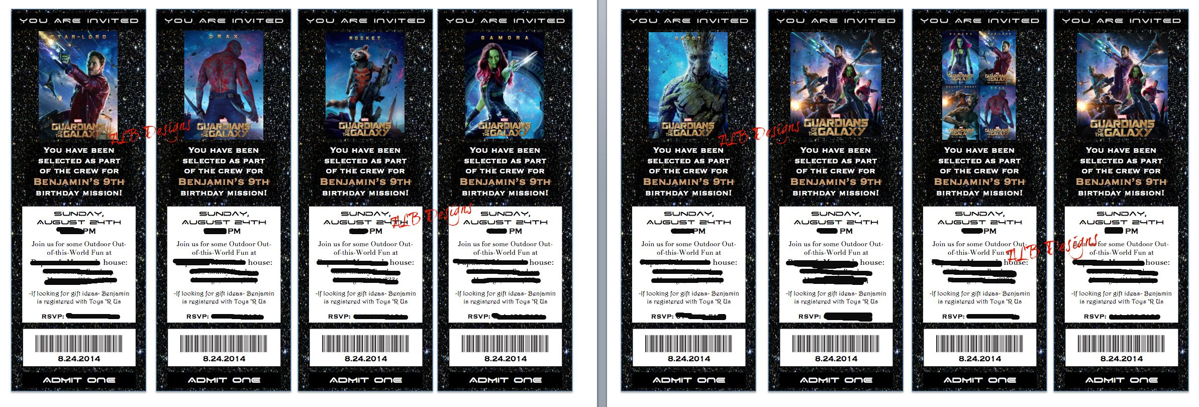 Guardians Of The Galaxy Birthday Party Invitations GOTG I Made These Individual Movie Tickets On Word Each Family Will Get X Amount Based