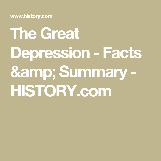 amp; the Great Depression