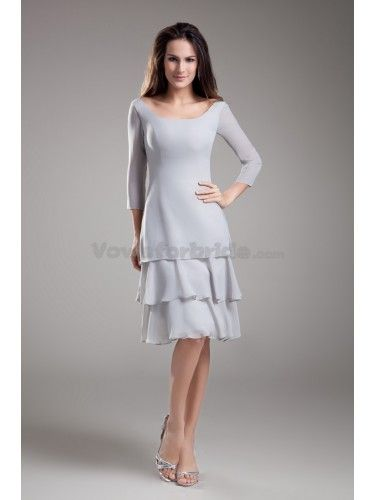 Chiffon Scoop Neckline Knee Length Column Cocktail Dress with Three-quarter Sleeves