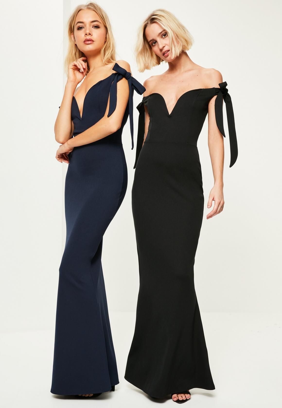 Missguided Navy Crepe Sweetheart Neck Bardot Tie Maxi Dress Women Dress Online Womens Dresses Dresses [ 1680 x 1160 Pixel ]