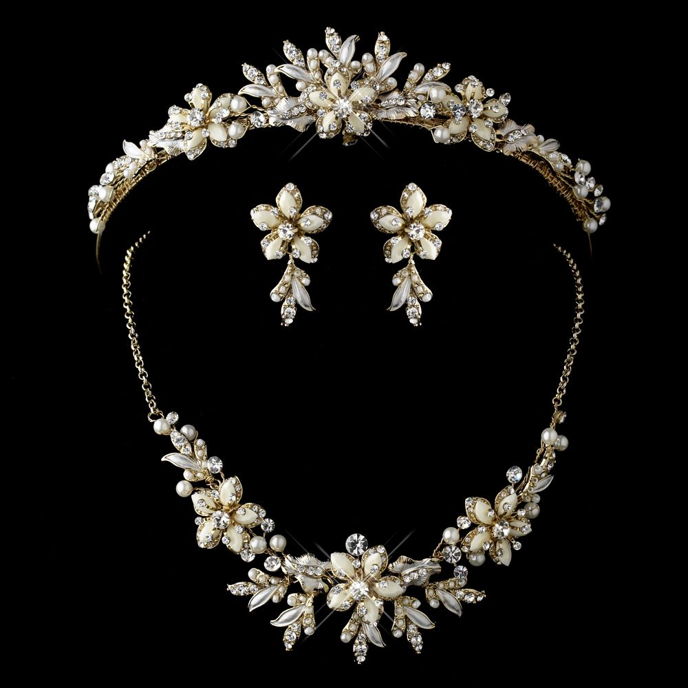 Gold and ivory floral wedding tiara and bridal jewelry set