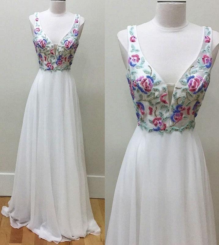 v neck beads chiffon long prom dress formal dress PD20190155White v neck beads chiffon long prom dress formal dress PD20190155