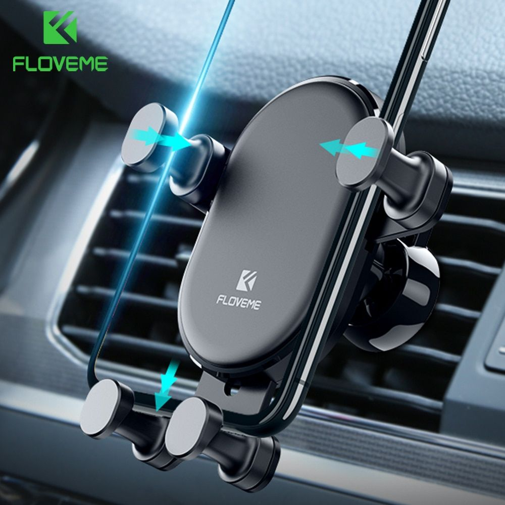 Gold Universal Car Phone Holder Gravity Air Vent Mount Clip Cell Phone Stand for iPhone X 8 7 6S Plus Samsung S9 S8 Plus Note 8 9 Mobile Phone Holder