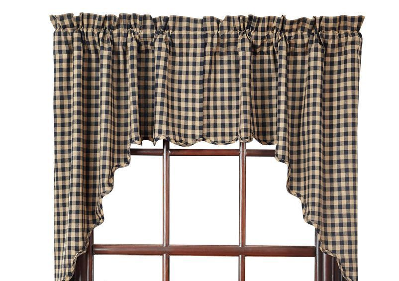 new primitive country farmhouse black tan check scalloped curtain swags country country on farmhouse kitchen curtains id=50690
