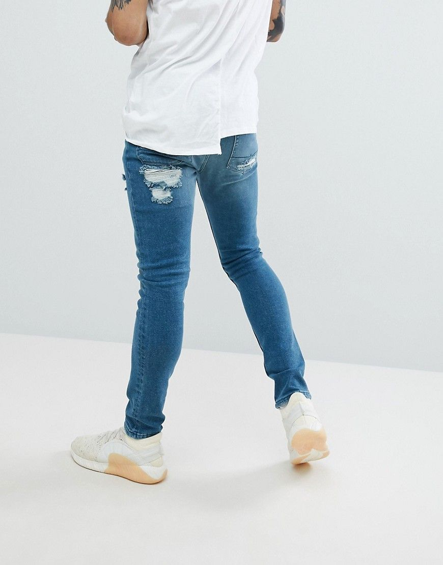 Manchester Cheap Price Extreme Super Skinny Jeans In Smokey Blue With Patches - Light wash blue Asos Buy Cheap 2018 Newest hPPro92F
