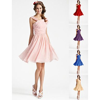 Knee-length Georgette Bridesmaid Dress - Pearl Pink / Royal Blue / Ruby / Champagne / Grape Plus Sizes / Petite A-line / Princess V-neck – USD $ 59.99