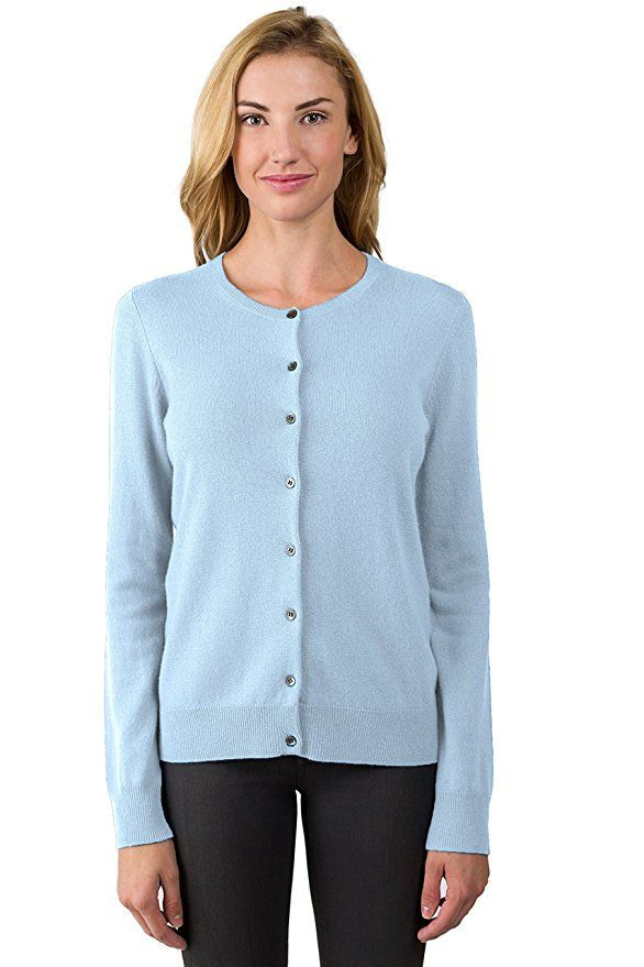 JENNIE LIU Women's 100% Cashmere Button Front Long Sleeve Crewneck ...