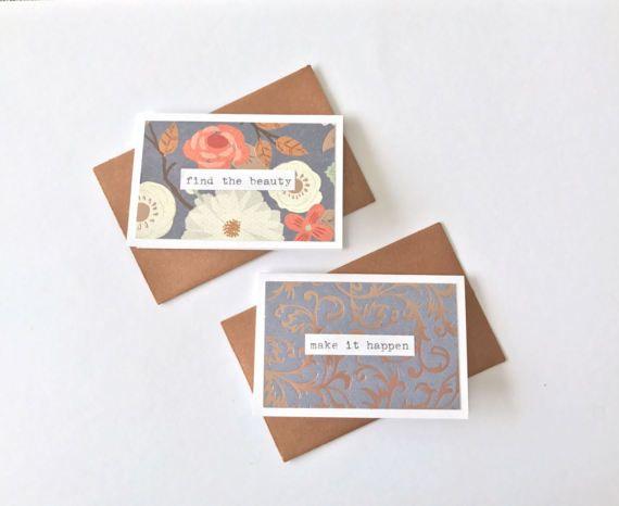 Hapinotes Vintage Bronze 2 X3 Mini Cards Envelopes Gift