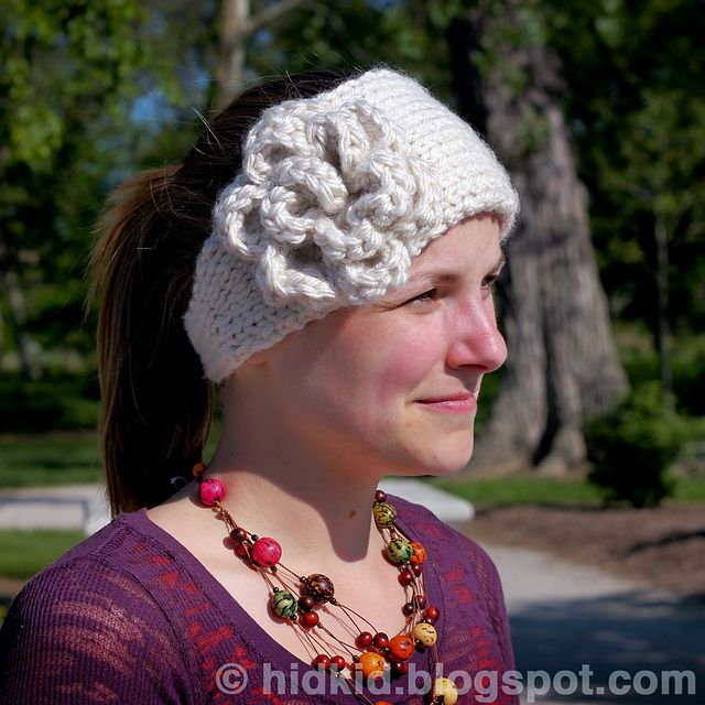 Knitting Patterns Galore Warm Flower Headband With A Button