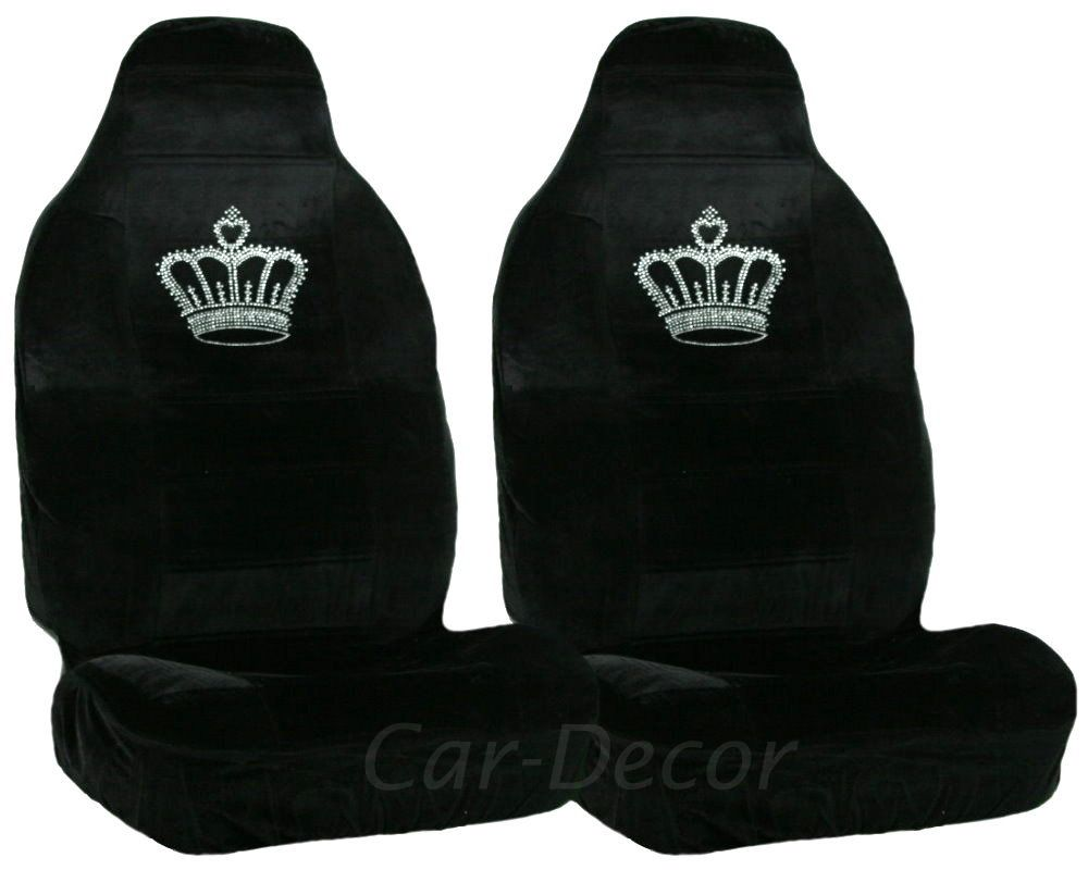 Rhinestone Princess Crown Car Seat Cover Crystal Accessory Teens His And Hers King Queen Set