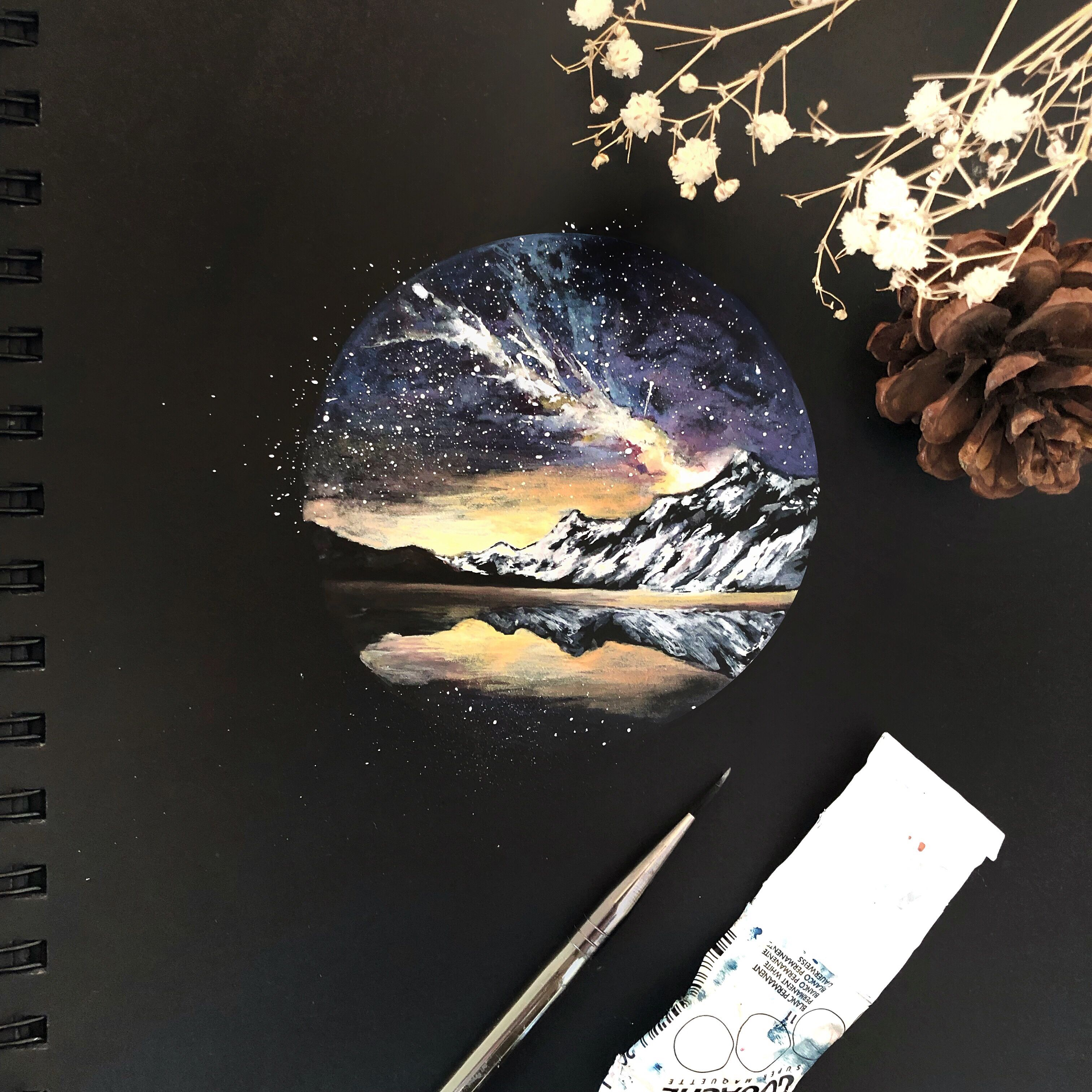 Watercolor And Gouache Landscape Painting On Black Paper