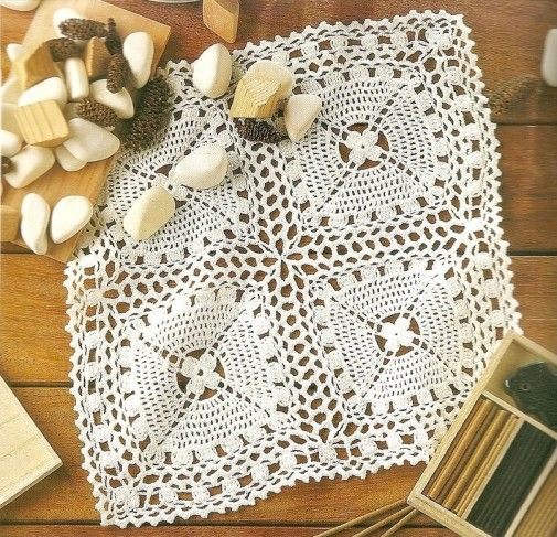 napperon carré 5   Crochet d\'art   Pinterest   Maronen und Häkeln
