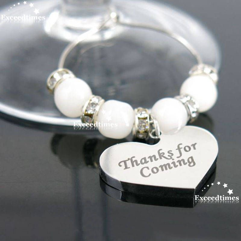 Personalised Wine Gl Charms Heart Weddings Favours Special Occasions Supplies