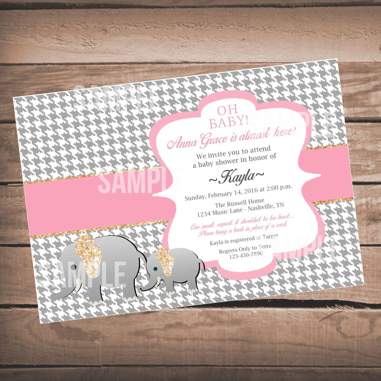 Elephant Girl Baby Shower Invitation, Glitter Elephant Invitation, Houndstooth Baby