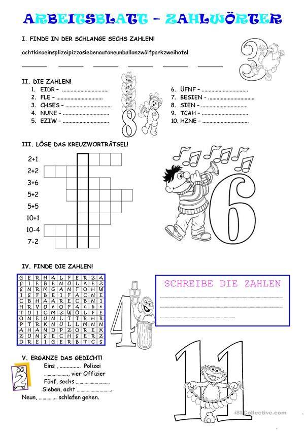 Zahlen 1-12 | Deutsch_Wortschatz_Zahlen | Pinterest | Zahlen, Kinder ...