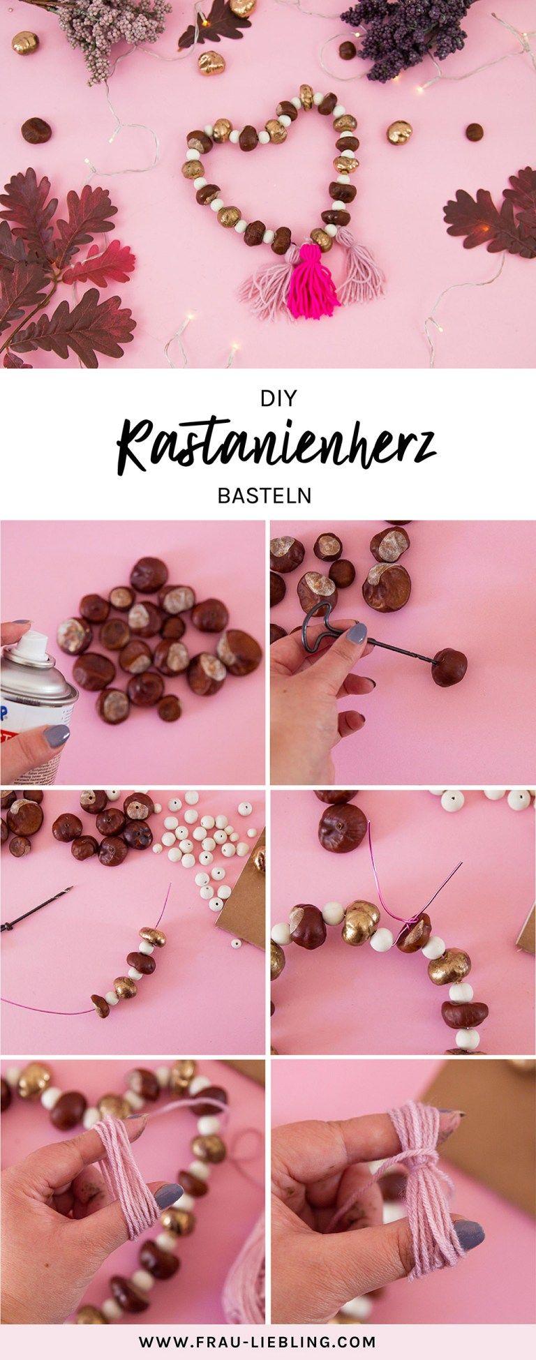 DIY Herbstdeko: Herz aus Kastanien basteln #kastaniendeko