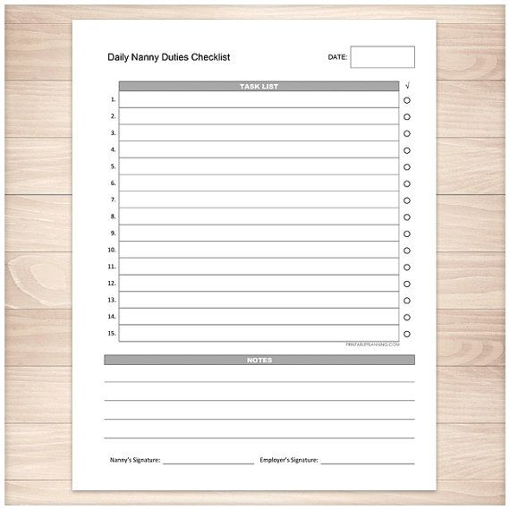 Printable Nanny Duties Checklist Daily Task List Nanny Duties With Notes Section And Signatures Pdf Instant Download Task List Nanny Checklist