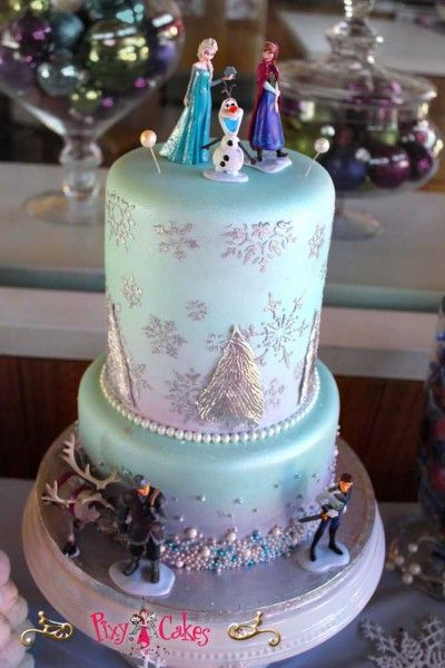 birthday cake girl 2 tier frozen winter plastic figurines birthday