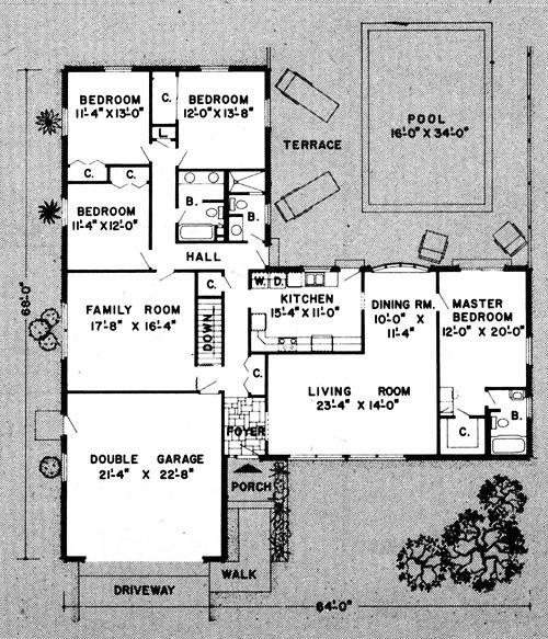 single level underground home plans plan no 9894
