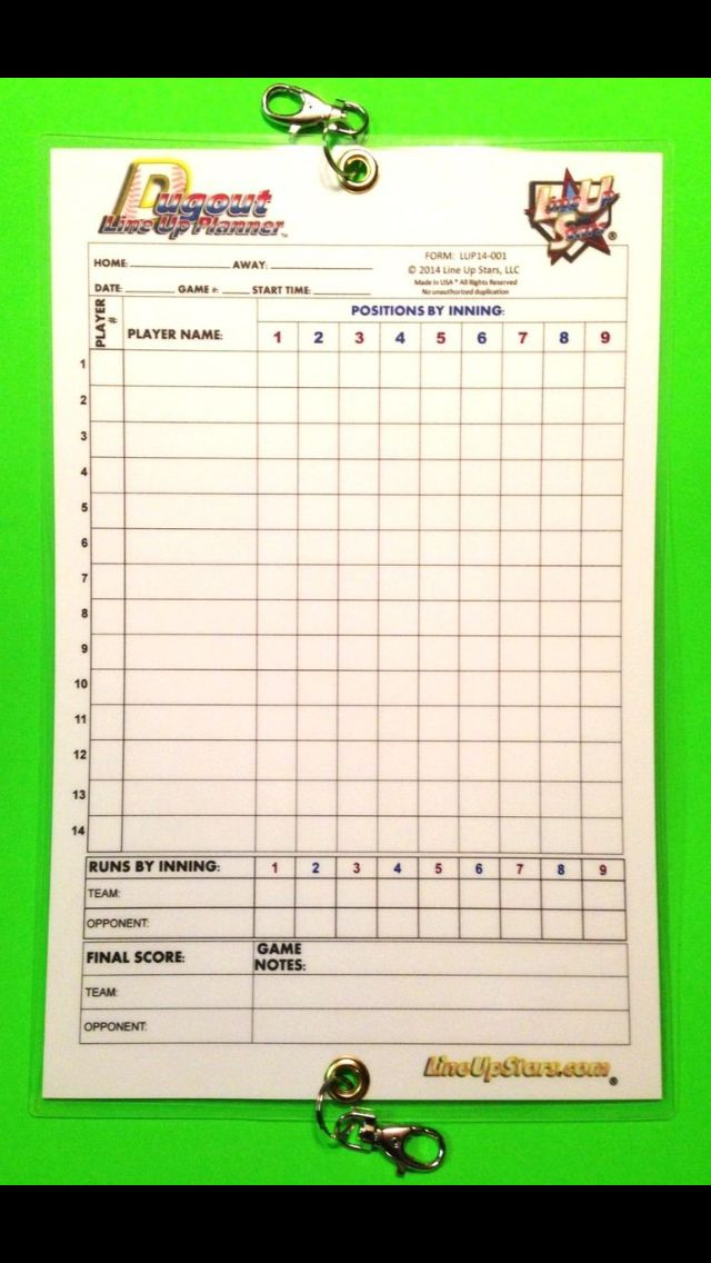 Baseball Softball Dugout Line Up Planner Chart For Coaches Available At Www Lineupstars Com Softball Dugout Softball Sports Theme Classroom