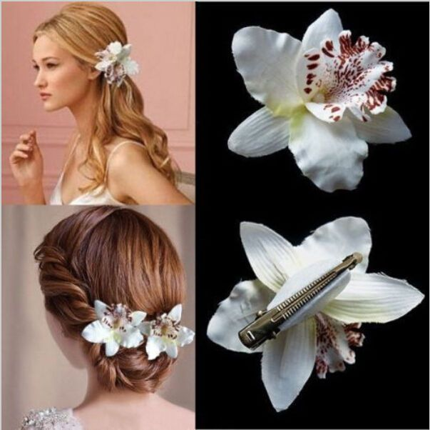 Details About Fashion Wedding Bridal Flower Orchid Leopard Hair Clip Brooch Pin Barrette Wedding Hair Clips Beach Hair Accessories Beach Hair Jewelry