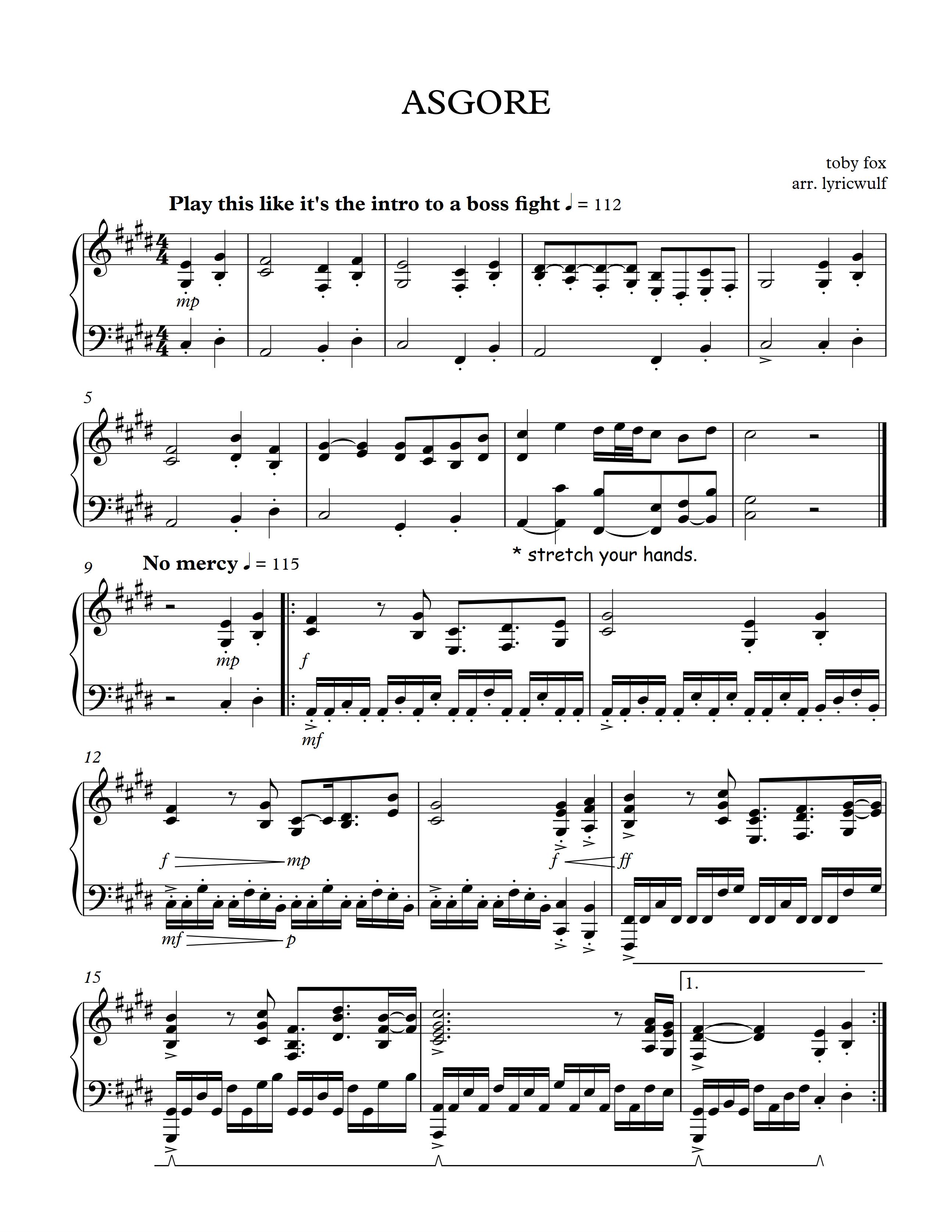 ASGORE theme sheet music 楽譜 ピアノ, ピアノ楽譜